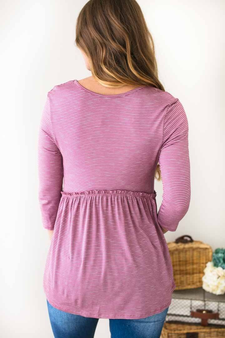 My Mauve Heaven Stripe Babydoll Top-Tops-Lotus Boutique-Lotus Boutique