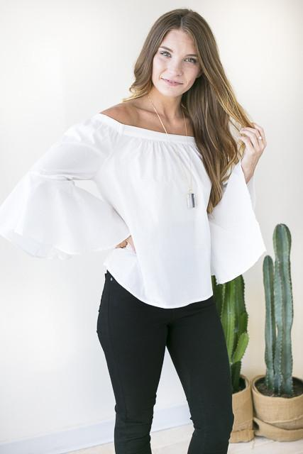 One More Time Off Shoulder White Top