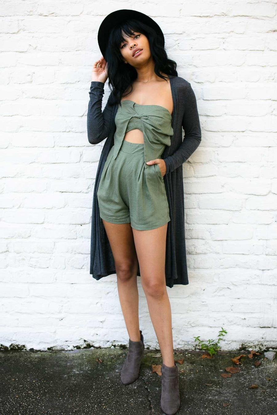 Blowing Up My Line Strapless Olive Romper