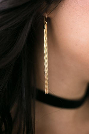 House of Gold Tassel Earrings-Accessories-Lotus Boutique-Lotus Boutique