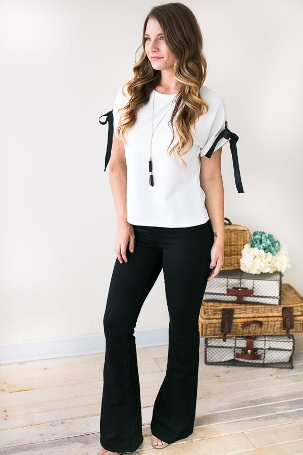 Uniquely Chic Tie Sleeve White Top