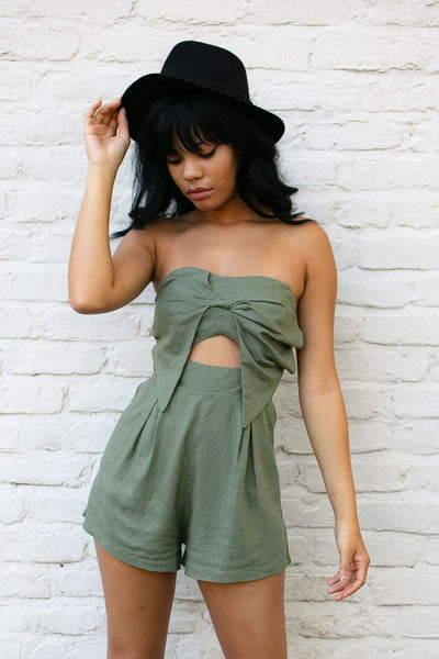 Rompers Blowing Up My Line Strapless Olive Romper - Lotus Boutique