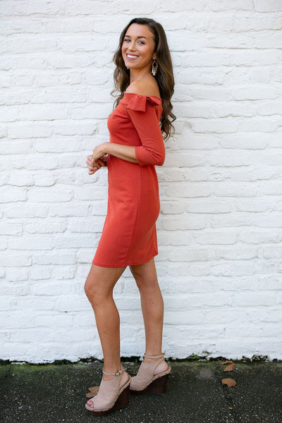 Dresses Timeless Fall Bodycon Dress in Rust - Lotus Boutique