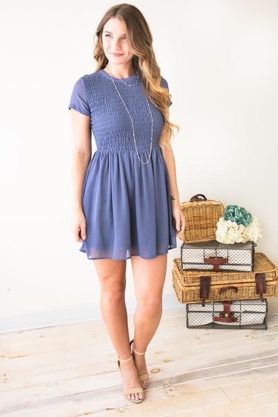So Lovely Smocked Mini Dress-Dresses-Lotus Boutique-Lotus Boutique