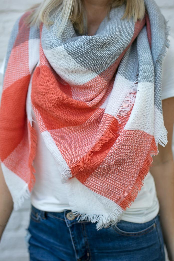 The Ultimate Plaid Blanket Scarf in Grey and Coral