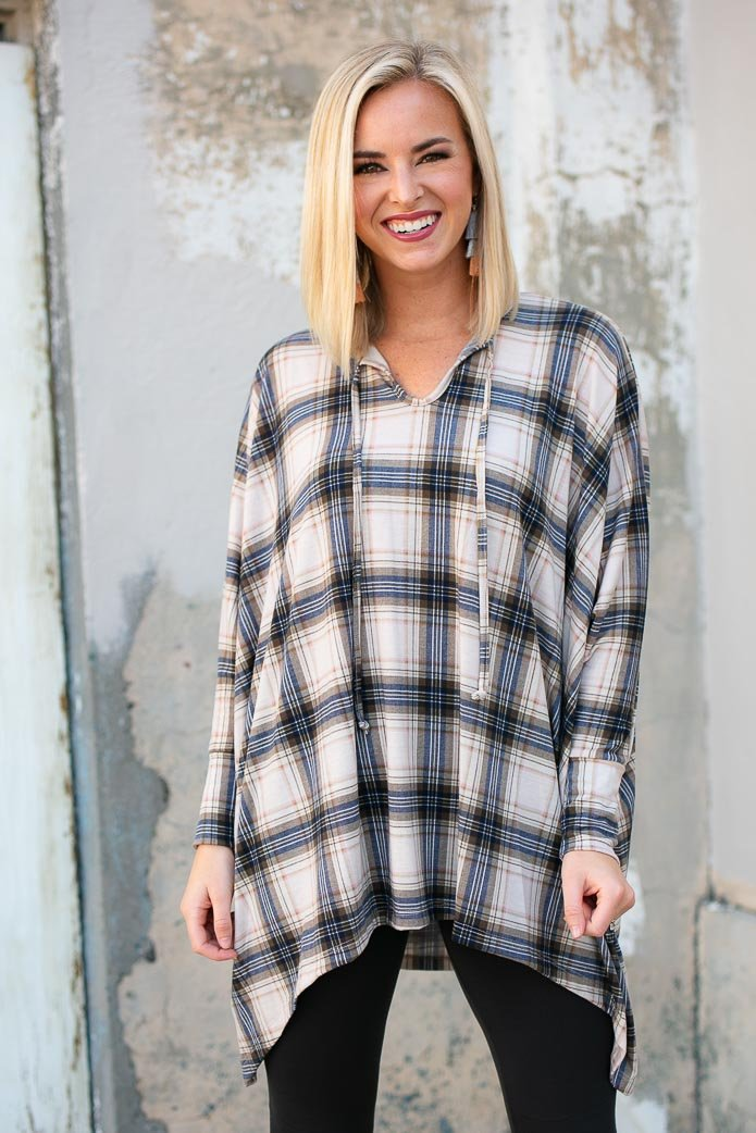 Favorite Time of the Year Plaid Poncho