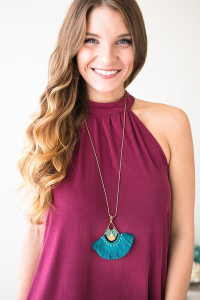 Wild Winds Teal Fan Tassel Necklace-Accessories-Lotus Boutique-Lotus Boutique