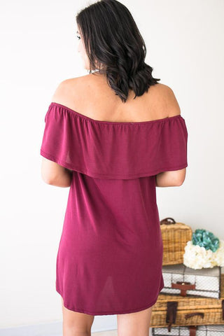 Hazey Baby Off Shoulder Maroon Dress