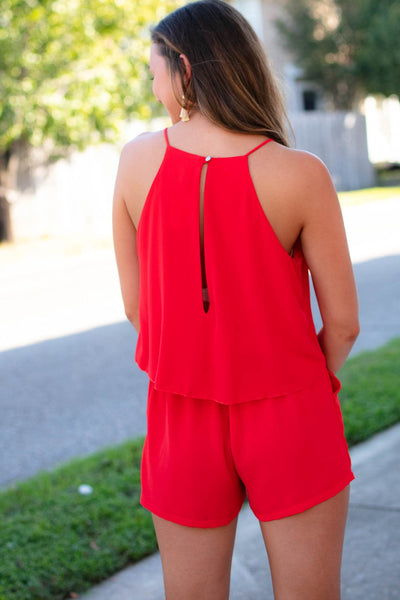 Rompers Free Flowing Layers Open Back Romper in Tomato - Lotus Boutique