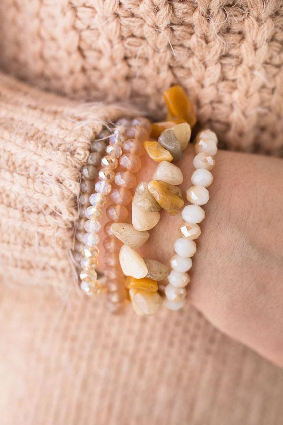 You Rock Natural Stone Stack Bracelet