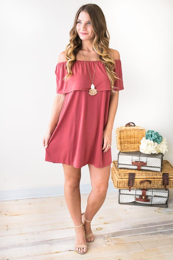 59f062f00d10 Hazey Baby Off Shoulder Rust Dress-Dresses-Lotus Boutique-Lotus Boutique
