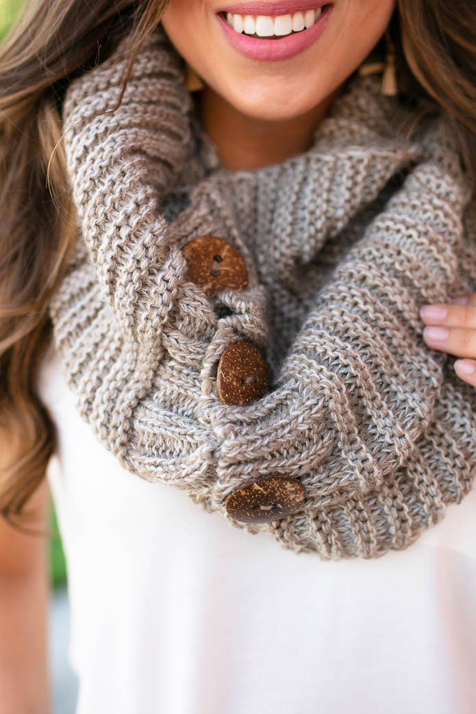 Button Detail Taupe Scarf