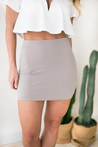Too Good Taupe Fitted Skirt