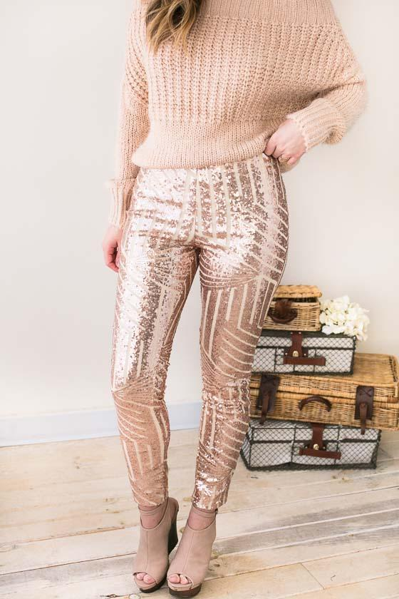 Bottoms Roses Are Gold Sequin Pants - Lotus Boutique