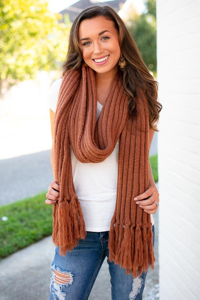 Accessories A Walk in the City Rust Long Knit Scarf - Lotus Boutique