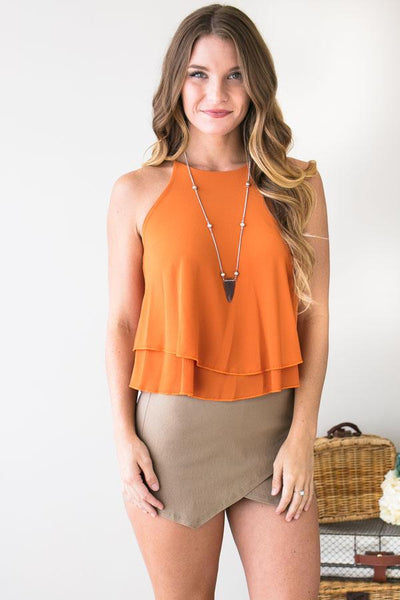 Tops Dream Team Rust Layered Tank Top - Lotus Boutique