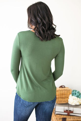 Later Lucy Cross Front Top in Green
