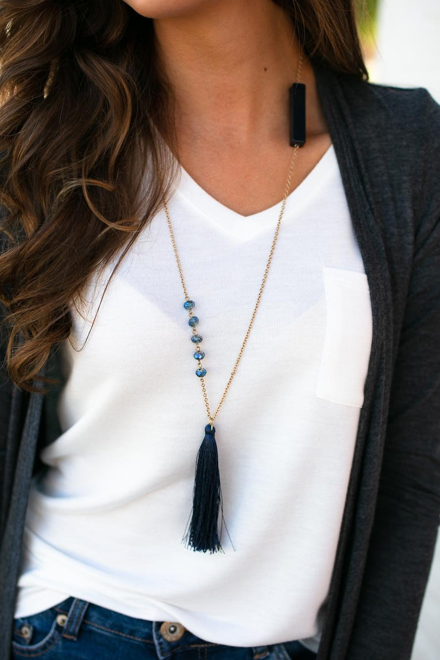 Accessories Wanted Navy Tassel Long Necklace - Lotus Boutique