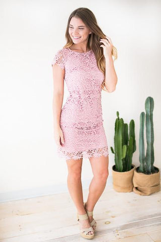 Crazy For Lace Cap Sleeve Dress