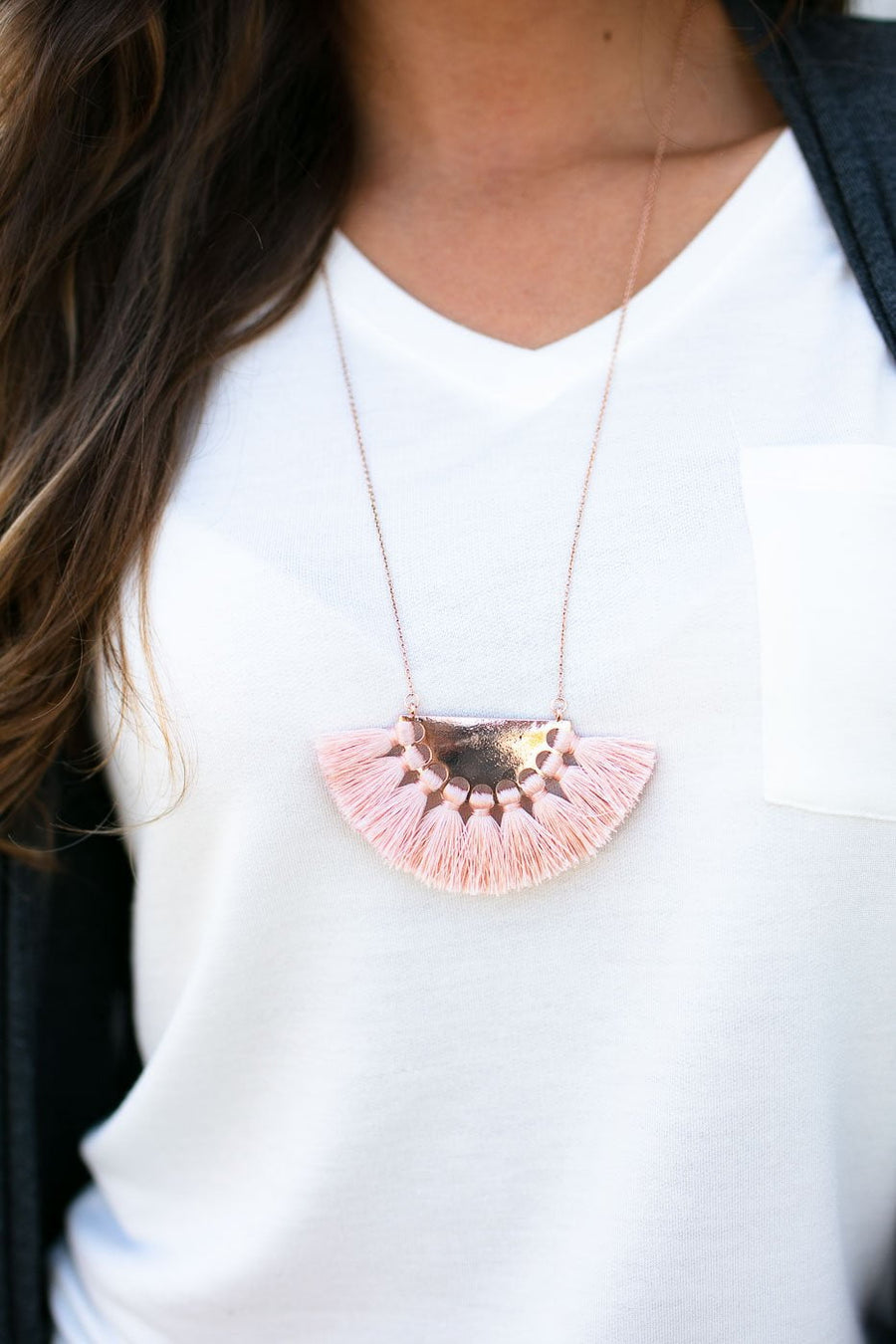 Fan Blush Tassel Necklace