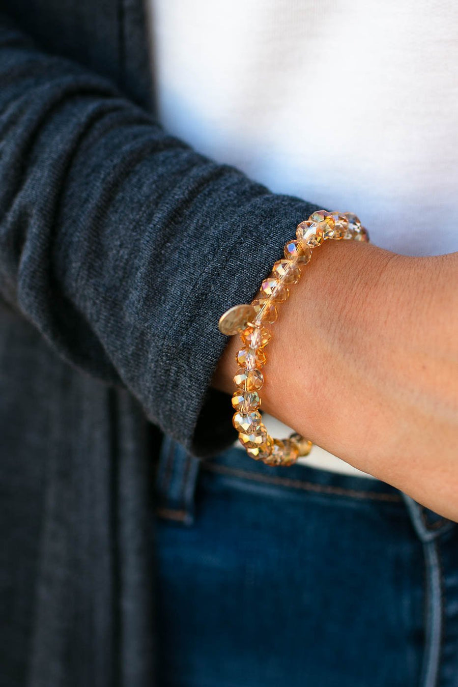 Camel Clear Beaded Bracelet