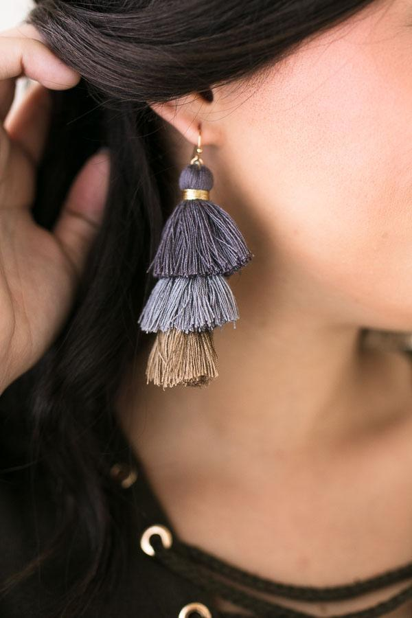 Heidi Triple Tassel Earrings in Grey-Accessories-Lotus Boutique-Lotus Boutique