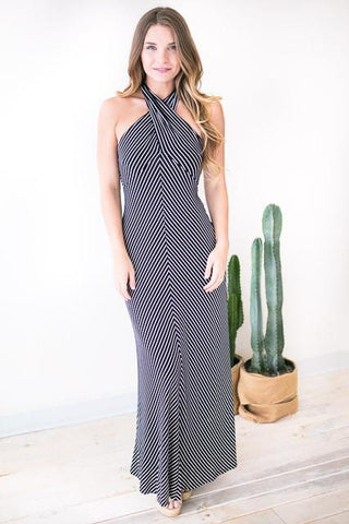 Influence Cross Neck Stripe Maxi Dress