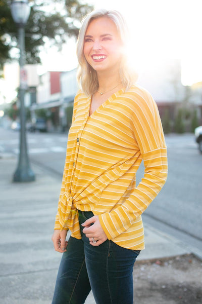 Tops Easy Going Stripe Tie Front Top in Mustard - Lotus Boutique