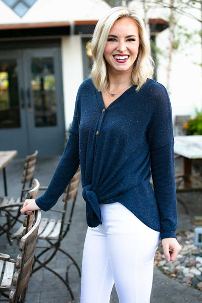Navy Tie Front Button Top