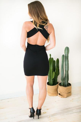 First Take X Back Bodycon Dress - Black