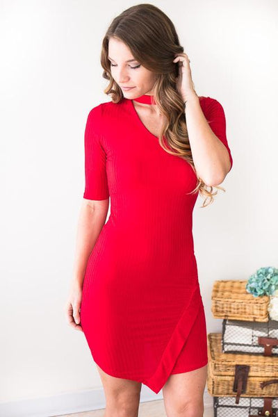 Dresses Asymmetrical Red Ribbed Choker Neck Dress - Lotus Boutique