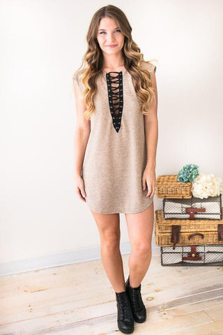 Star Crossed Neutral French Terry Dress