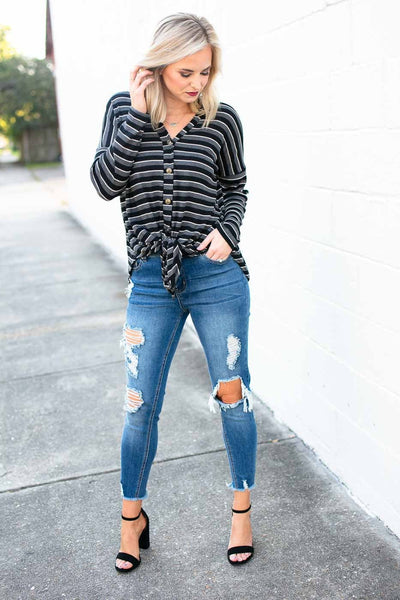 Tops Easy Going Stripe Tie Front Top in Black - Lotus Boutique