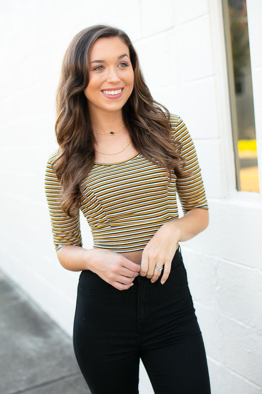 Tops Got You Memorized Stripe Crop Top - Lotus Boutique