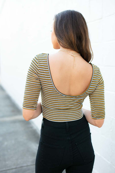 Stripe Scoop Neck Crop Top