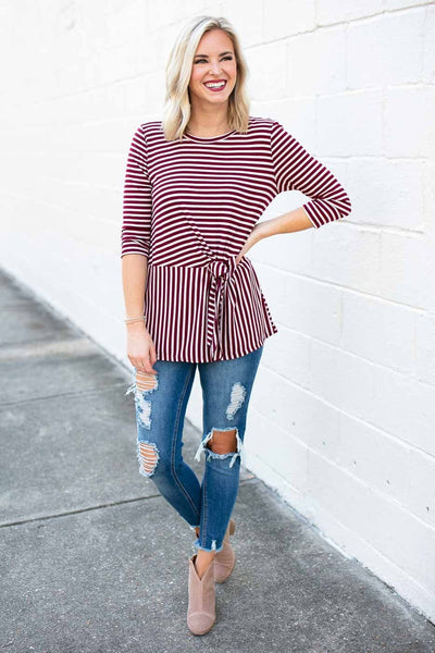 Tops Keep It in Line Stripe Tie Front Top - Lotus Boutique
