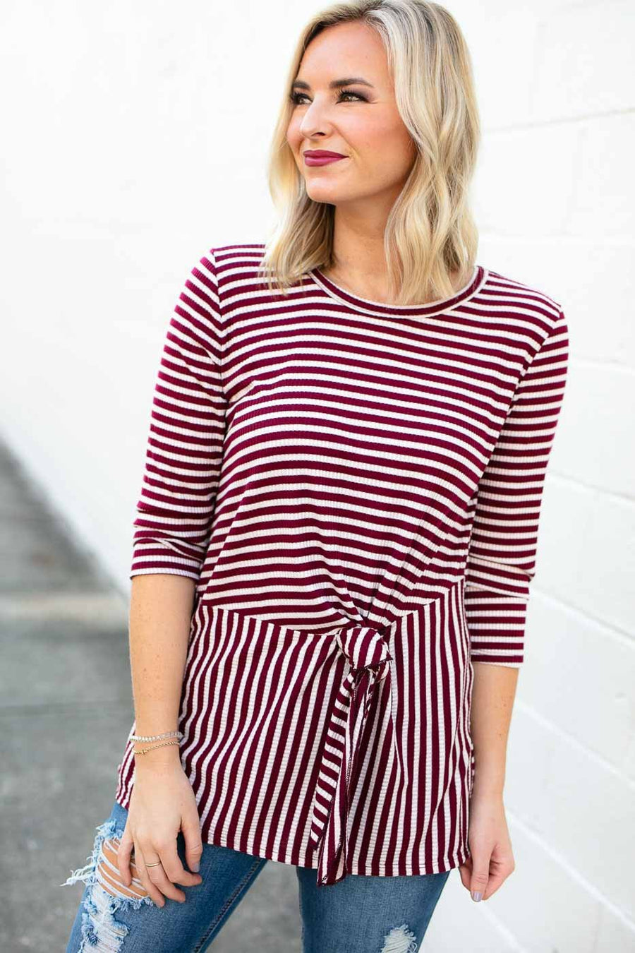 Stripe Wine Tie Front Top