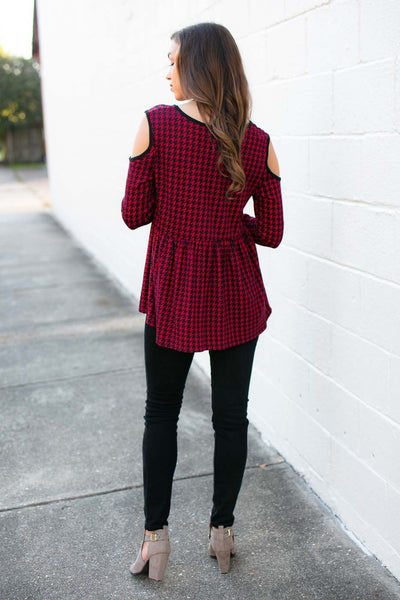 Tops Rolling with it Houndstooth Cold Should Top - Lotus Boutique