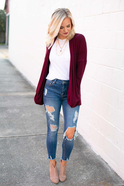 Drape Cardigan Wine
