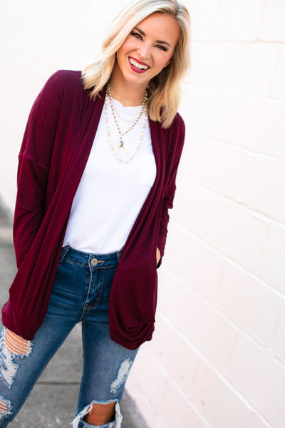 Draped Cardigan- Wine
