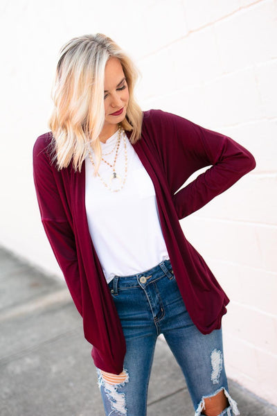 Draped Wine Cardigan