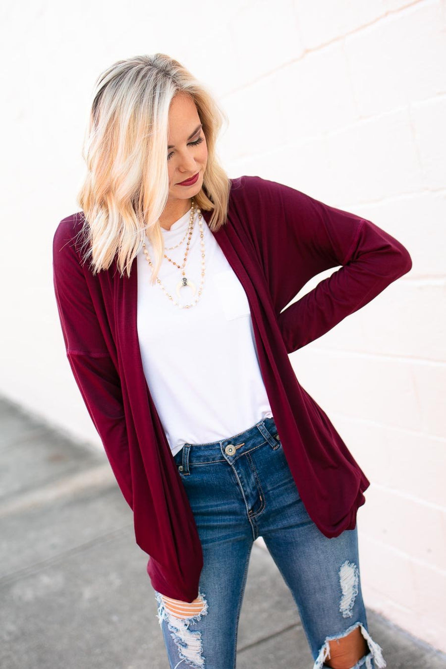 Wine Drape Cardigan