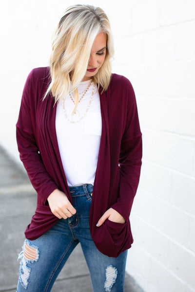Wine Color Cardigan