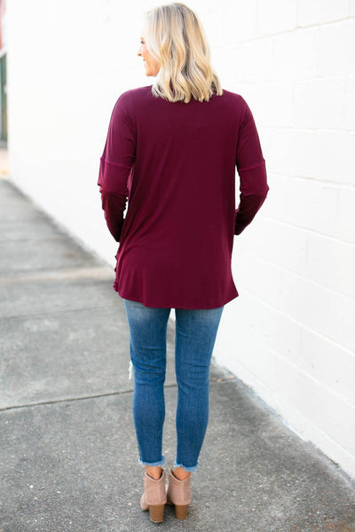 Tops It's All in the Drape Pocket Cardigan in Wine - Lotus Boutique