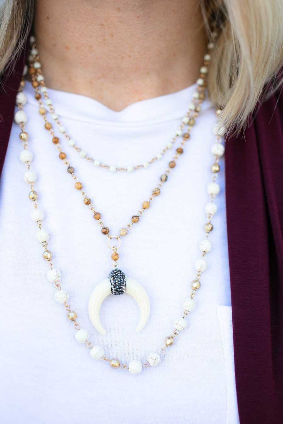 Accessories Wildest Dreams Natural Layered Horn Necklace - Lotus Boutique