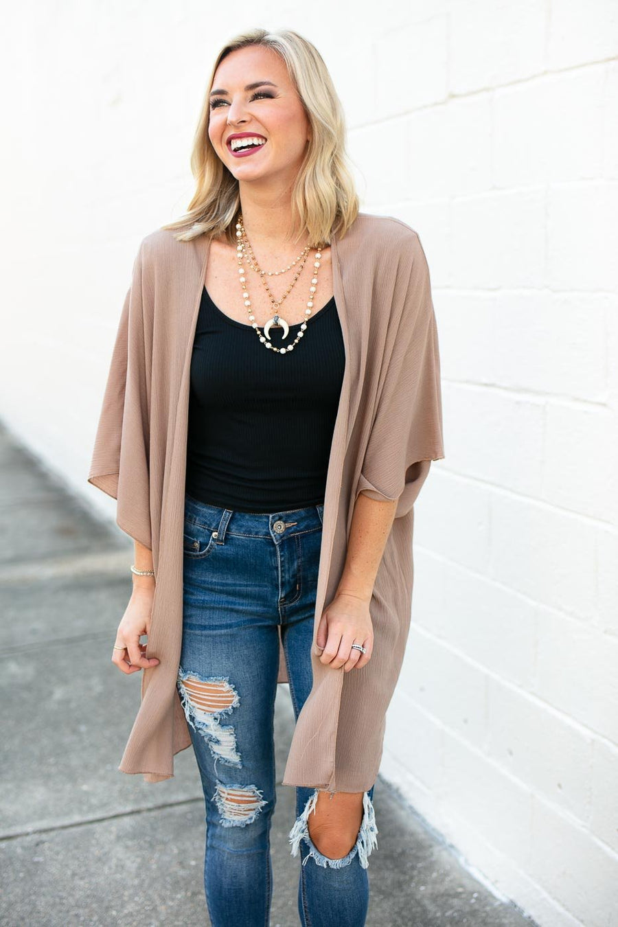 Tops In the Best Way Solid Kimono in Mocha - Lotus Boutique