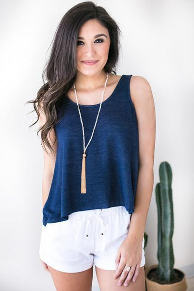 Summer Thrill Swing Tank - Navy-Tops-Lotus Boutique-Lotus Boutique