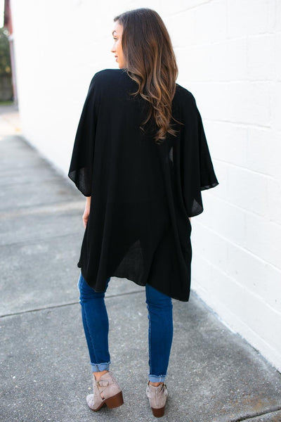 Tops In the Best Way Solid Kimono in Black - Lotus Boutique