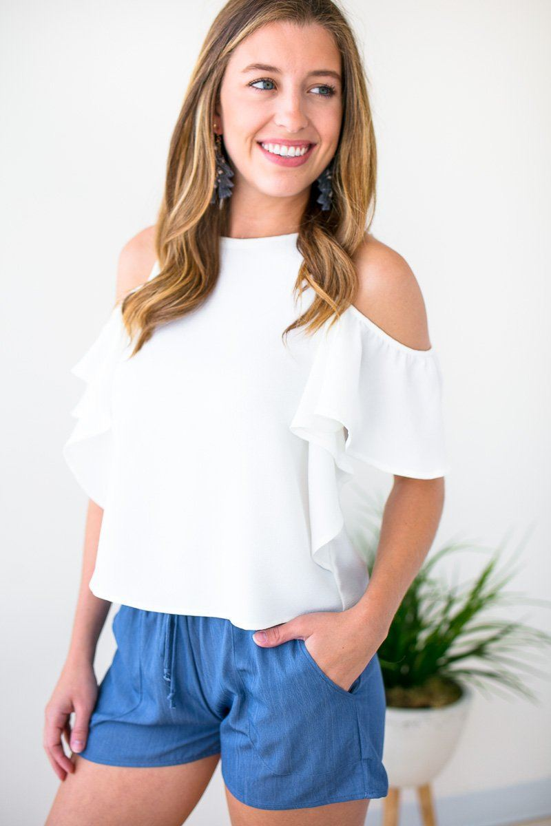 Tops Imitate It Ruffle Cold Shoulder Top in Ivory - Lotus Boutique