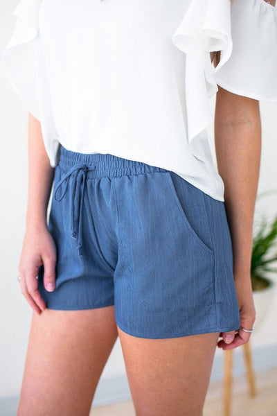 Bottoms Love My Team Basic Pocket Shorts in Blue - Lotus Boutique